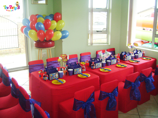 Superman themed party cape town The Party B Kids party setups